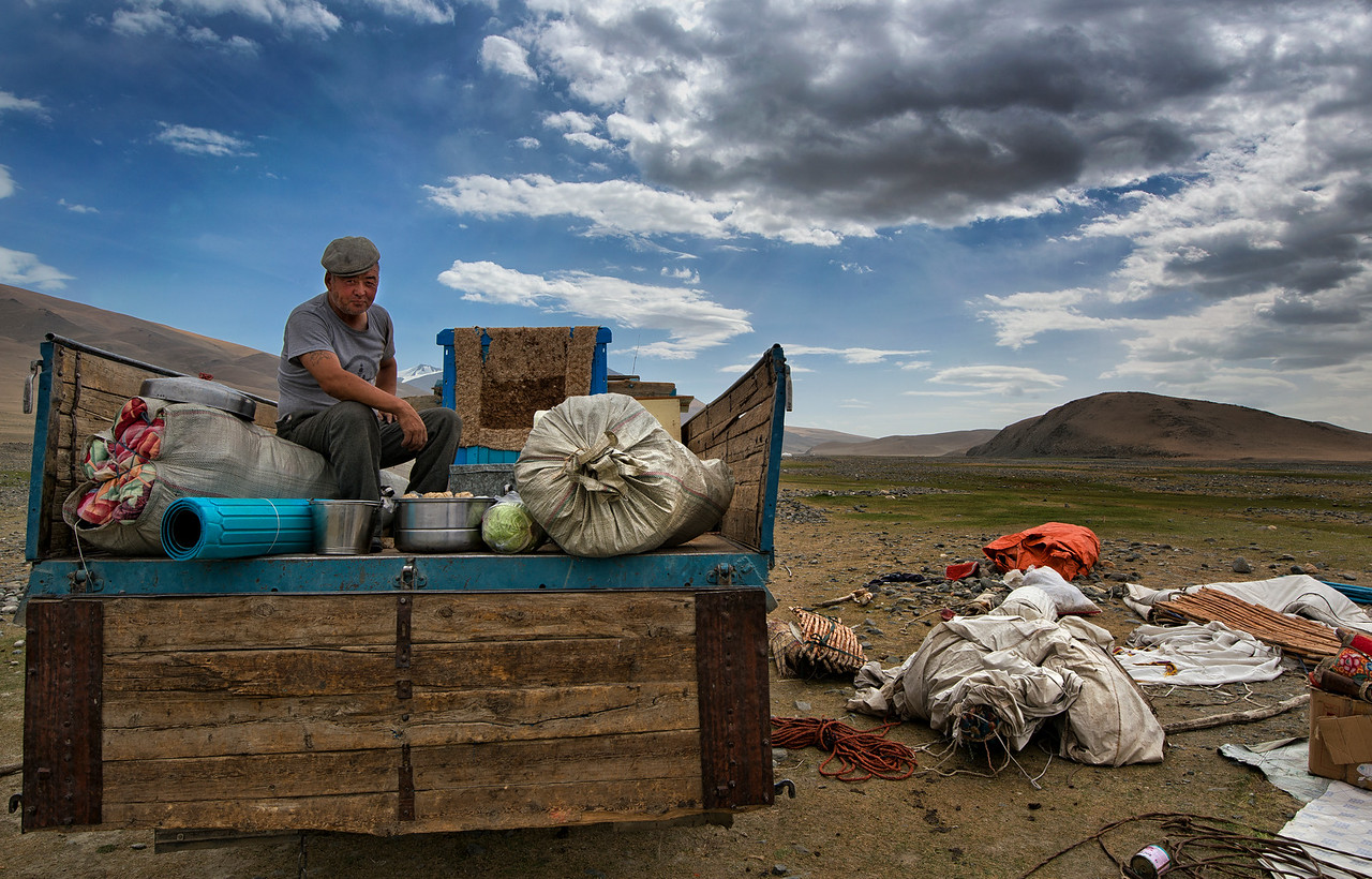 Mr Shamurat and his family relocate twice a year, in autumn and spring.  This is necessary in order to survive the extreme winters and to find good grazing grounds for the animals in summer. Although some  families still transport their belongings the traditional way by the use of camels, Mr Shamurat prefers to rent an old Russian truck for the job.