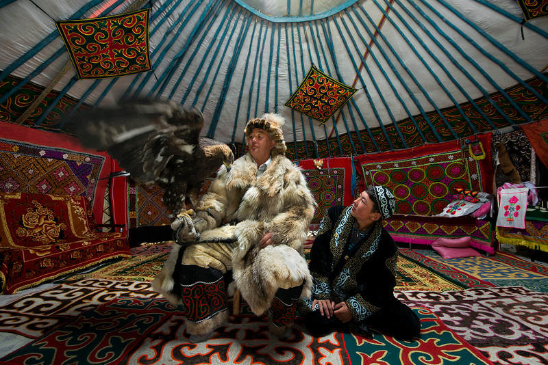 Mr Shamurat's youngest son is taking after his father.  During the winter he attends school in a small village high up in the Altai mountains. During the weekends he has time to practice and perfect the art of eagle hunting with his father.