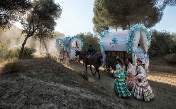 There are three main, traditional routes, and most hermandades, wherever they are arriving from, eventually join one of these. These depart from Triana (Sevilla, to the north-east), Sanlucar de Barrameda (south), and Huelva (west). People also travel in big trailers pulled by tractors, ideally with shade as it can get very hot, as well as lots of food and drink. The rocieros sit on benches along the sides of the trailers, including many children who go on the pilgrimage every year. The more practical and comfortable, though less attractive, option is a big white caravan, with the same curved roof as the traditional models, complete with air-con and running water. This is pulled by a 4x4, as the route takes rocieros through the Doñana park, including several river crossings, so a tough vehicle is essential.
