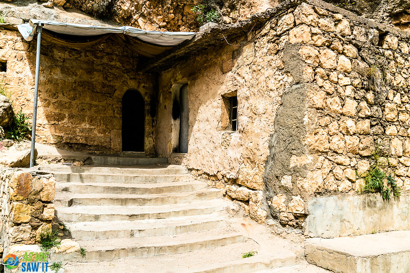 Stairs leading up to a door in Lalish