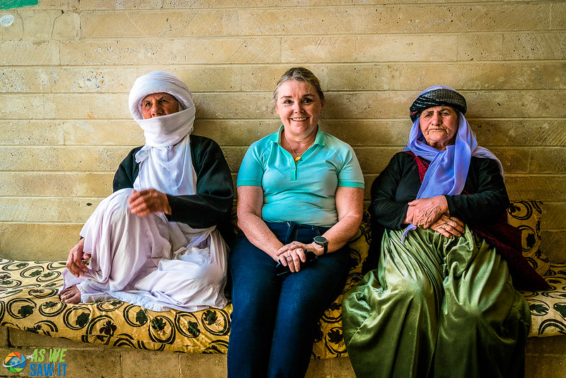 Sitting with two Yazidi women