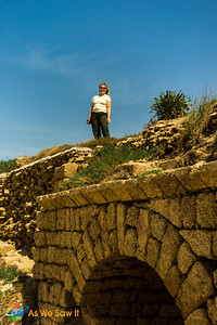 Ancient Roman aqueduct at Caesarea, Israel.
