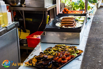 Prepared foods are available like these grilled choices.