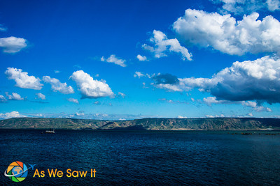Looking from our table across the sea, the Golan Heights fills our view behind the Sea of Galilee