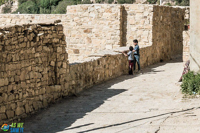 Two boys playing in Dana Village, Jordan