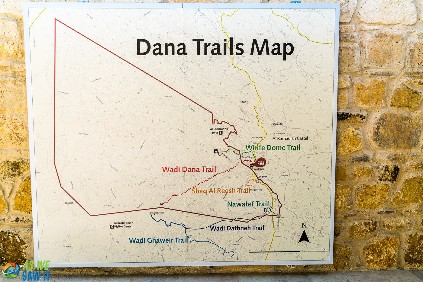 Trails map at Dana Guest House