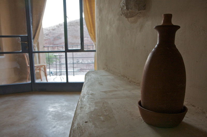 The pottery water bottles which kept the water cool all day
