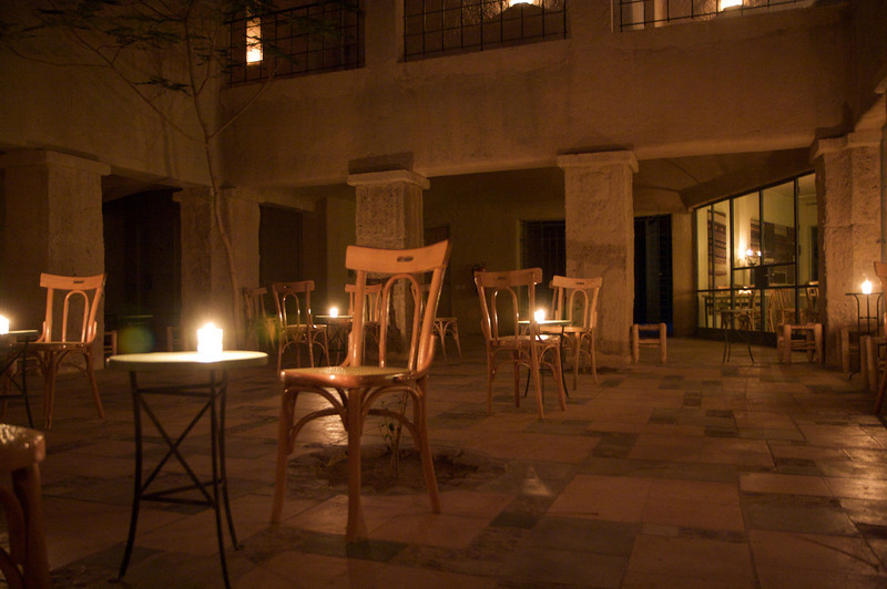 The courtyard - a pleasant place to relax and read