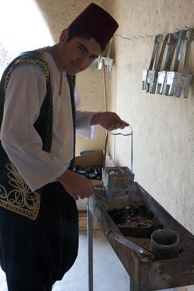 Preparing the coals