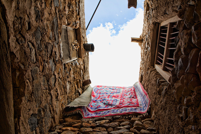 Hanging rug in the village