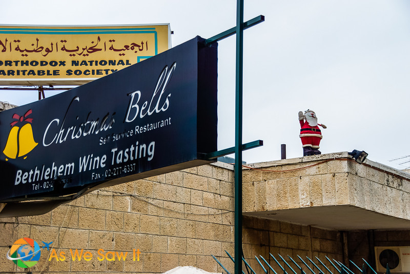 Bethlehem sights: inflatable Santa and a Bethlehem Wine tasting shop.