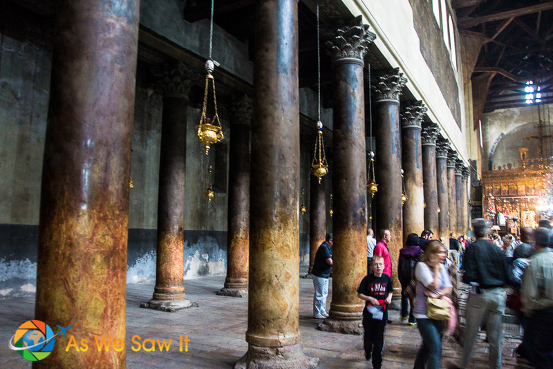 Ask about top sites in Bethlehem Israel and the birthplace of Jesus is #1. It's called Church of the Nativity. This is a shot of the ancient columns along the sides inside the. church.