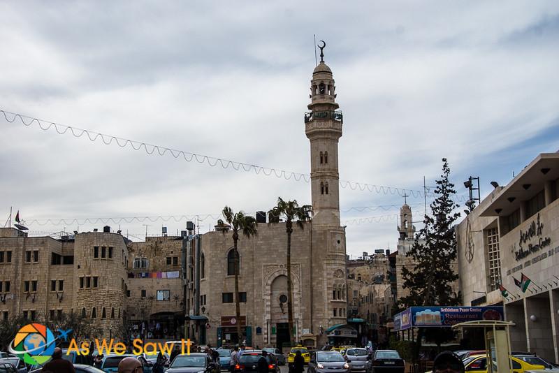 Islamic mosque and minaret in Bethlehem