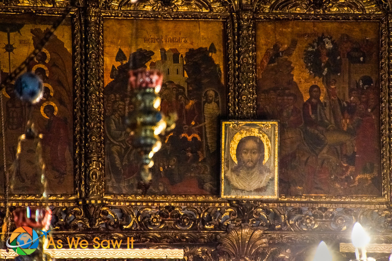 Paintings and icons at the basilica in Bethlehem