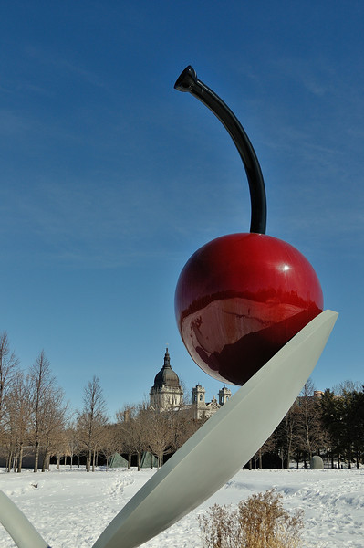 Spoonbridge and cherry with the Basilica in the background just to make sure you know you are in Minneapolis.