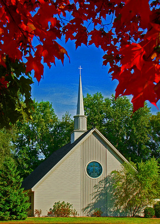 Little Lutheran church in Shoreview, Mn., fall colors, #0182