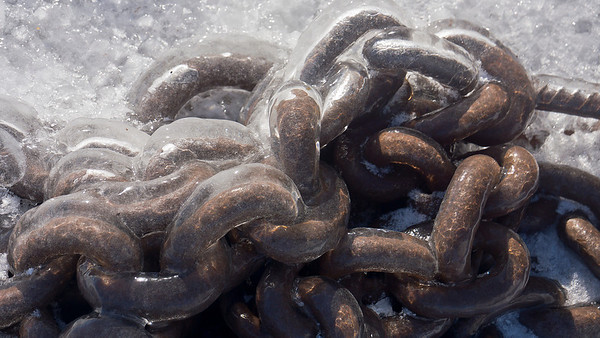 Ice on boat chains, Grand Marias, Mn., #0638