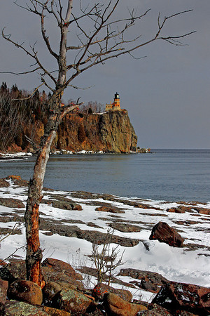 Split Rock Light House in winter on Lake Superior, #0181