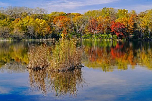 Reflections of fall color at Snail Lake, #1231