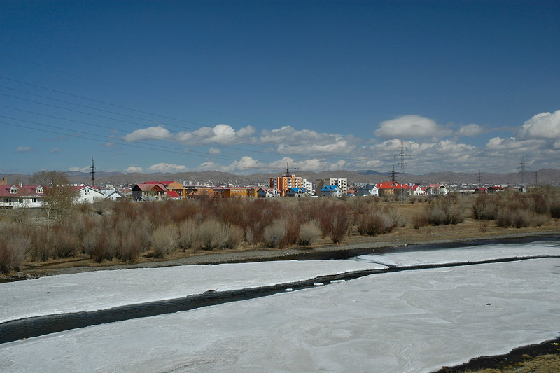 Frozen Tuul River (nuur as its called in Mongolia). <br /> Ice cold UB, Mongolia.