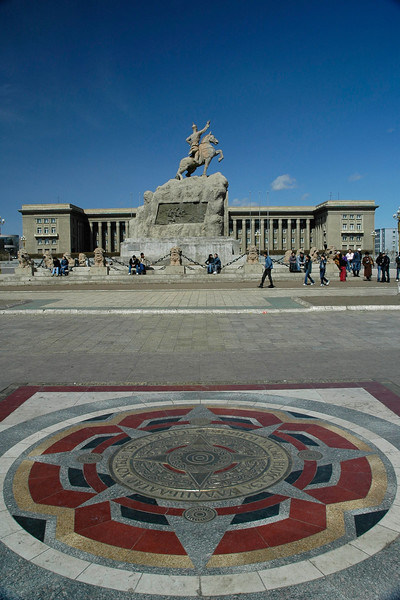 Statue of Damdin Sukhbaatar who defeated Ungern von Sternberg, Russia and the Chinese. Ulan Bator / Ulaanbaatar, Mongolia