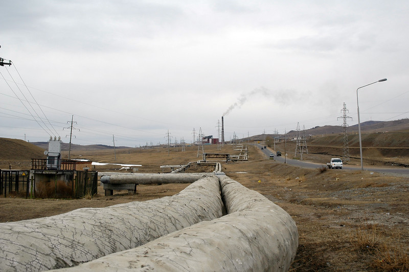 I was told that people didn't have local heaters even in this cold. Hot water pipes circulated hot water through a public-system to keep the housing and office buildings warm. Seen is the protective clad pipes in UB (Ulaanbaator) Mongolia.