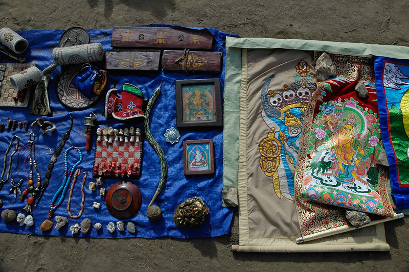 Assorted items on sale near Erdene Zuu which is in Övörkhangai Province, in the town of Kharkhorin (near Karakorum).