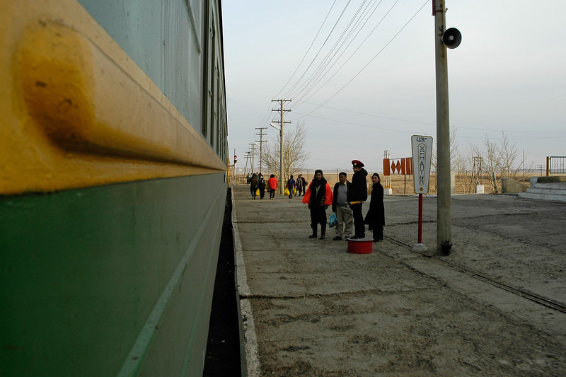 After leaving from UB, the train was being checked at the next stop. UB (Ulaanbaator), Ulaan Bator, Mongolia.