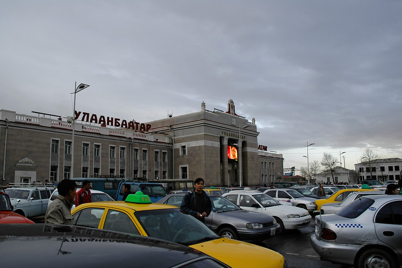 Taxi and cars at the train station in UB (Ulaan Baator), Mongolia