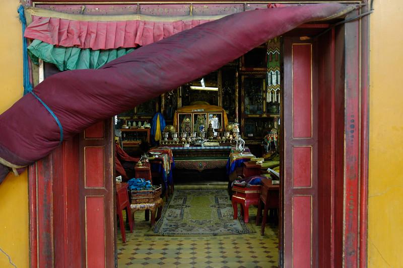 Inner prayer room. Gandan Monastery is one of the most significant ones in Mongolia. UB, Ulaan Baator, Mongolia.