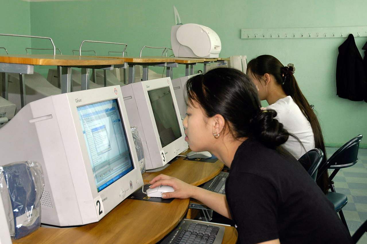 Seen here is their computer lab with students working on PCs. Visited a school in UB, Mongolia to see their facilities.