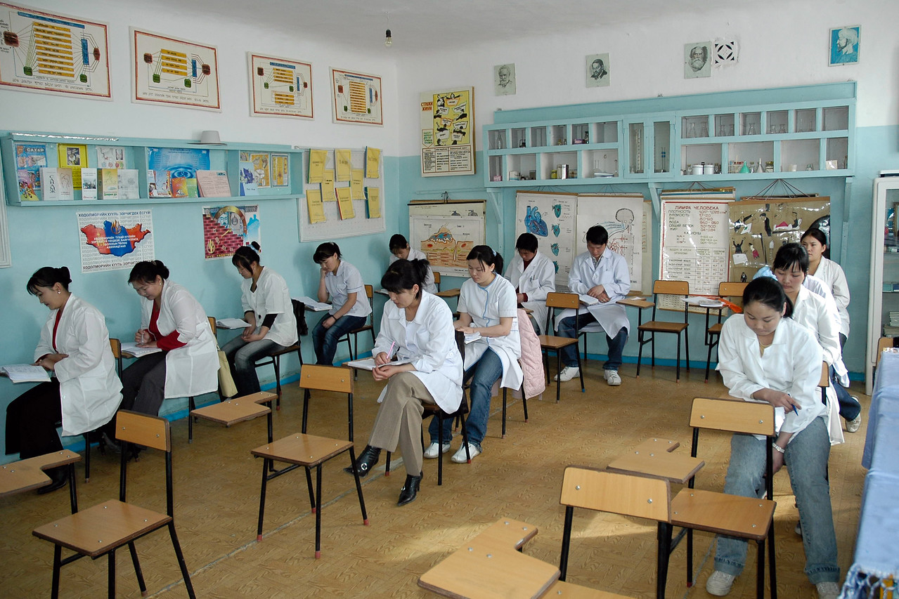 Students in a classroom for training nurses at the Hospital Training facility in Mongolia. Sainshand Medical College Dornogobi aimag.