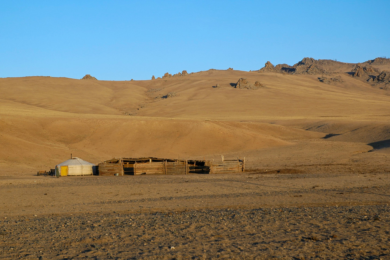 Ger in the Gobi Desert of Mongolia.