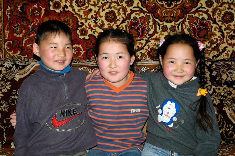 Lovely mongolian children at their home near Erdene Zuu Monastary in Övörkhangai Province, in the town of Kharkhorin (near Karakorum) Mongolia.