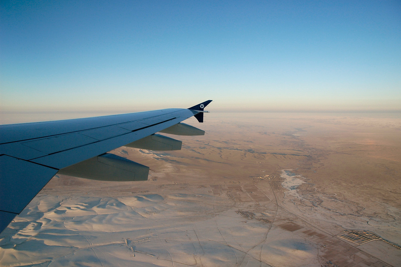 Ariel view from the plane of snow covered Mongolia seen on the flight to/from Beijing, China.