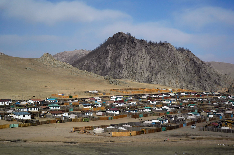 Housing settlement in Övörkhangai Province, in the town of Kharkhorin (near Karakorum) Mongolia.