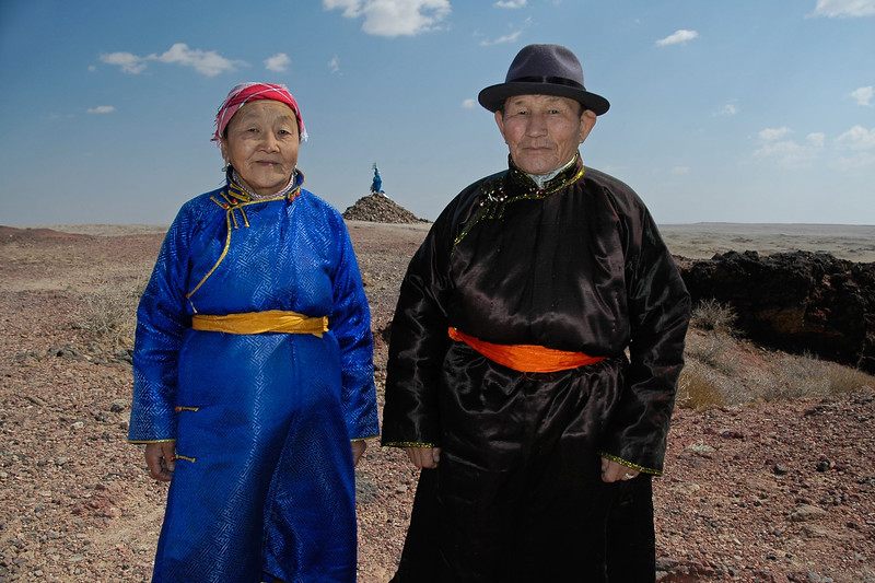 Old Mongolian couple who had come to see the cave of the nineteenth century Lama Danzanravjaa who was one of the most creative, colorful and enigmatic characters in Mongolian history. He came here to spend time in solitude.