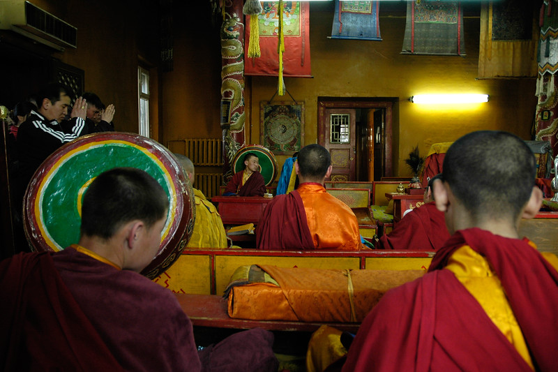 Chanting, music and prayers. Gandan Monastery is one of the most significant ones in Mongolia. UB, Ulaan Baator, Mongolia.