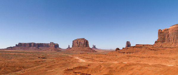 Features L to R:  Sentinel Mesa; West Mitten Butte (in front of Sentinel Mesa); Big Indian (in distance); Merrick Butte; Castle Rock (in distance); West Mitten Butte; Elephant Butte (far right).