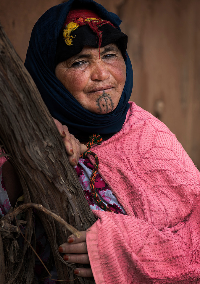 Portrait of a Berber woman from the high Atlas.<br /> <br /> Morocco, 2018.