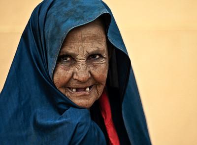 Portrait of a woman in Tafraoute.  Morocco, 2010.