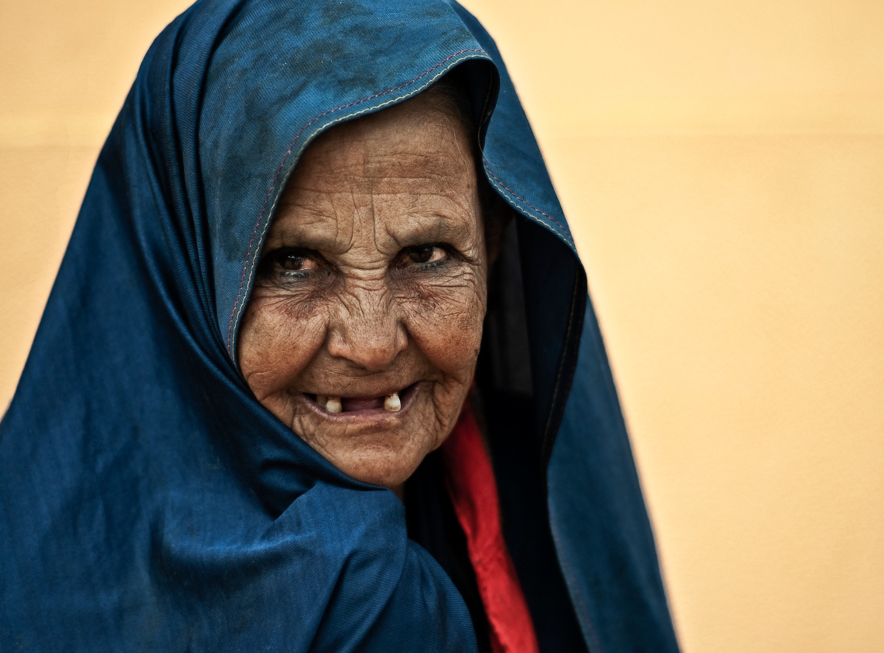 Portrait of a woman in Tafraoute.<br /> <br /> Morocco, 2010.
