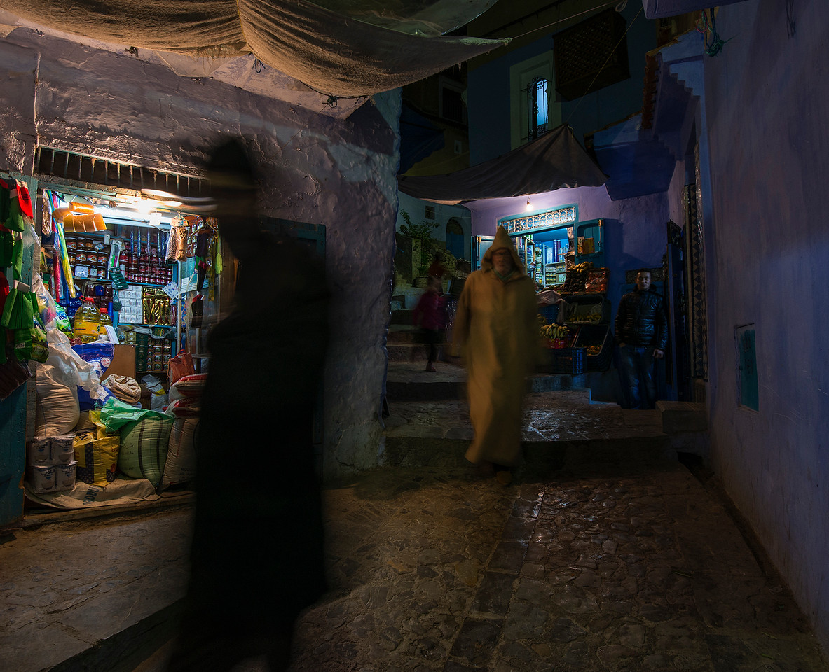 Night scene in the streets of the old medina in Chefchaouen.<br /> <br /> Chefchaouen, Morocco, 2018.