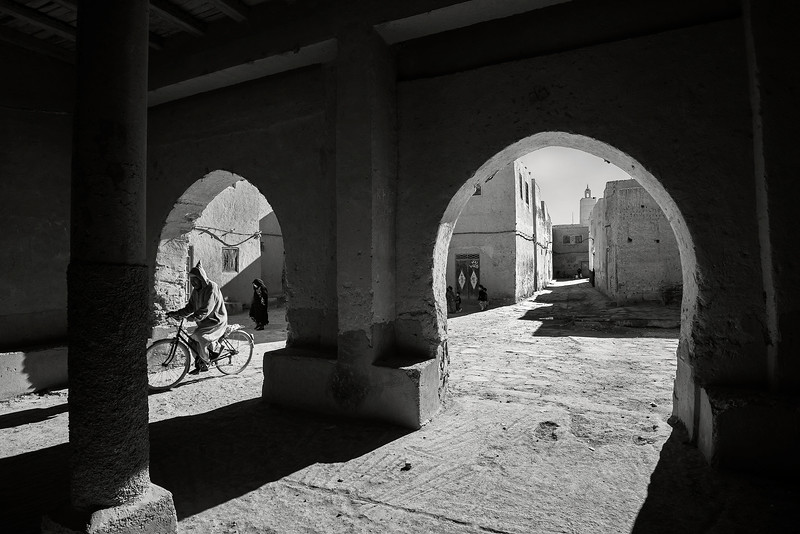 Street scene in the town of Ksar Maadid.<br /> <br /> Ksar Maadid, Morocco, 2018.