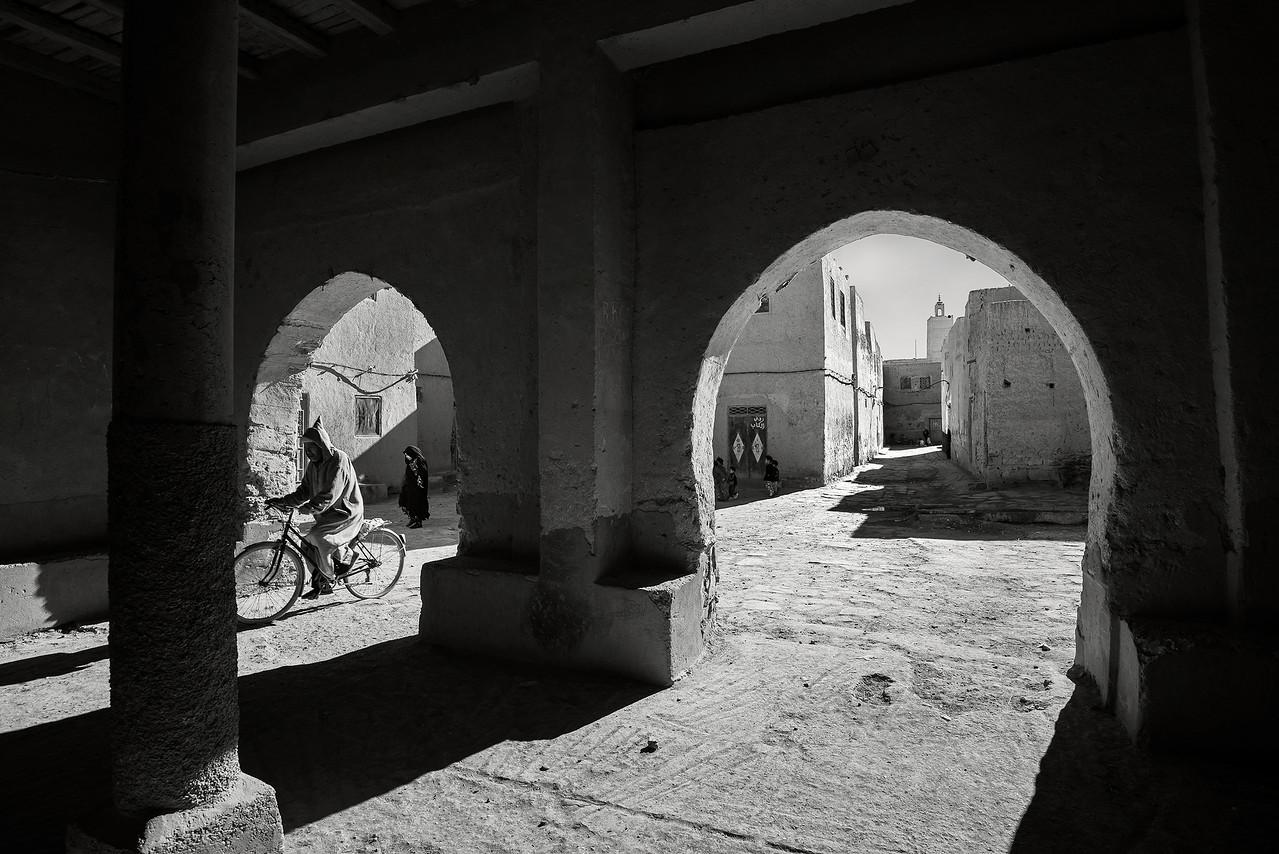 Street scene in the town of Ksar Maadid.<br /> <br /> Ksar Maadid, Morocco, 2018.