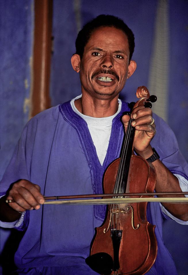 Berber musician in Rissani.<br /> <br /> Morocco, 2010.