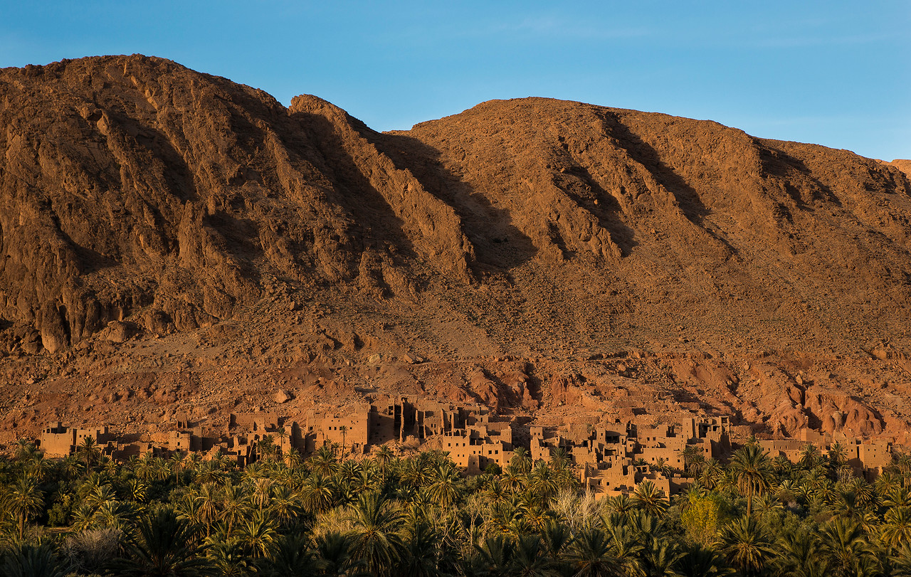 view of a ruined Ksar in southern Morocco, 2018.