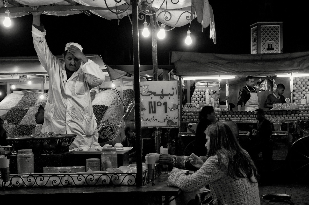 Tea stall at the Djemaa El Fna.<br /> <br /> Marrakesh, Morocco, 2010
