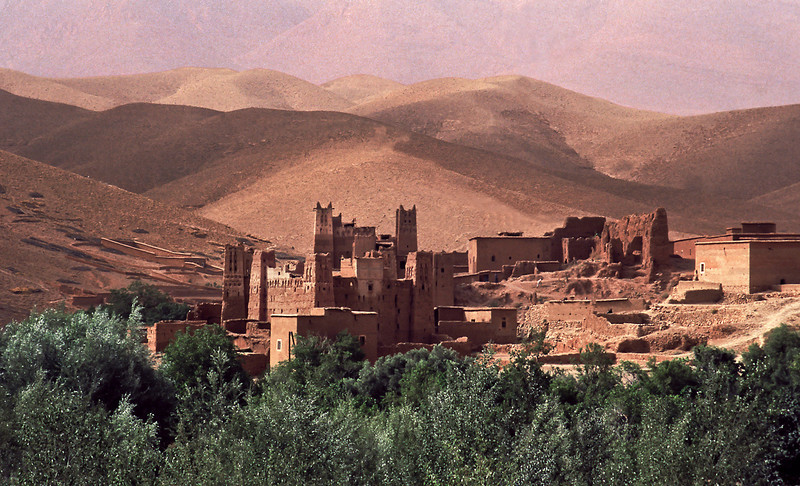View of a Kasbah in the Dra Valley.<br /> <br /> Morrocco, 1995.