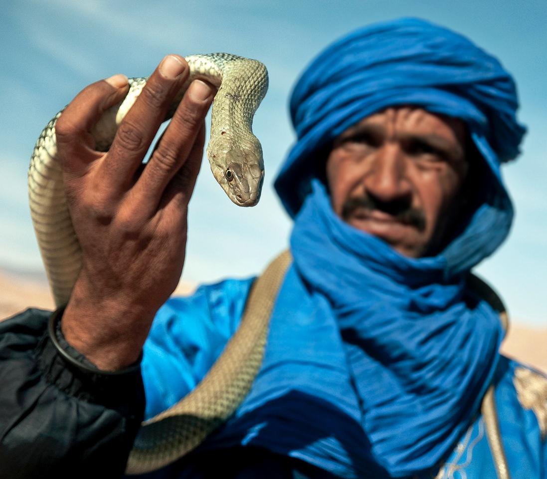 Snake charmer.<br /> <br /> Ait Benhadu.